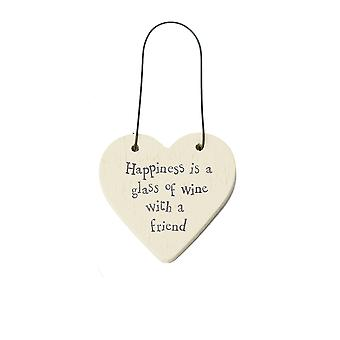 Happiness Is a Glass of Wine With a Friend Mini Wooden Hanging Heart - Cracker Filler Gift
