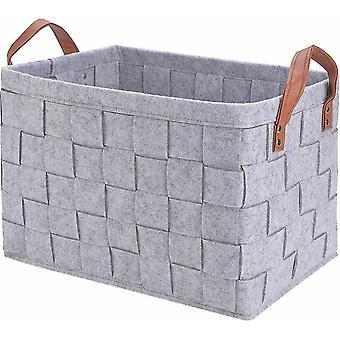 Storage Basket Bins, Foldable Handmade Rectangular Felt Fabric Storage Box Cubes Containers