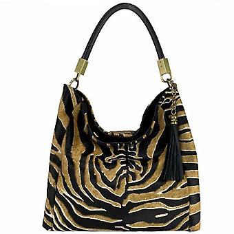 Stor guld svart elfenben zebra tryck hår på läder tofs grab väska