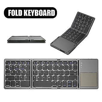 Qwert اللاسلكية القابلة للطي باد بلوتوث لوحة المفاتيح PC لوحة المفاتيح لوحة المفاتيح لوحة اللمس لفون