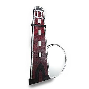 Beautiful Mosaic Glass Lighthouse Wall Mirror