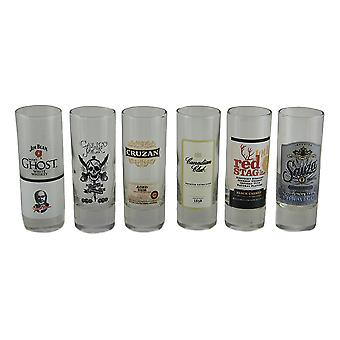 Set of 6 Glass Top Shelf Label Shot Glasses