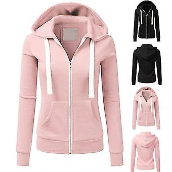 Women Long Sleeve Patchwork Solid Color Hooded Zipper Casual Sport Coat Pullovers Girl Hooded Female Coat Fashion