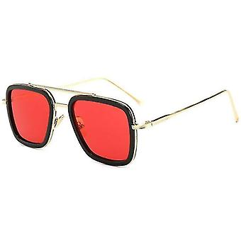 Szemüveg (fekete keret + piros lencsék) Tony Stark Marvel Bosszúállók Iron Man Retro uniszex fém keret négyzet ajándék # 240