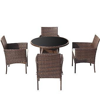Garden Rattan Dining Table With 4 Chairs