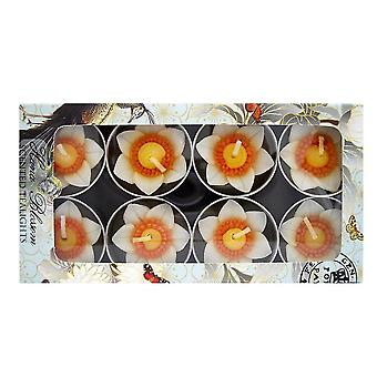 Candles hana blossom handmade fairtrade scentd daffodil tealight candle in designs christmas gift set  yellow  16.6Cm
