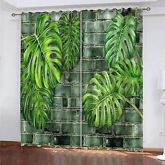 """חדר שינה סלון בידוד תרמי בידוד וילונות האפלה מודרני 2 חתיכות של צמחים ירוקים קיר לבנים מודפס 140x260 ס""""מ"""