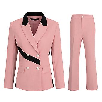 Mile Women's 2 Piece Office Work Suit Set One Button Blazer And Pants