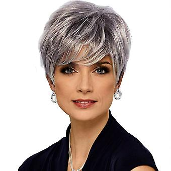 Pelucas de centro comercial de marca, pelucas de encaje, pelo corto esponjoso realista peluca de personalidad gris de pelo liso