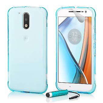 Twardy futerał Crystal + Rysik dla Motorola Moto G4 / G4 Plus - światło niebieskie