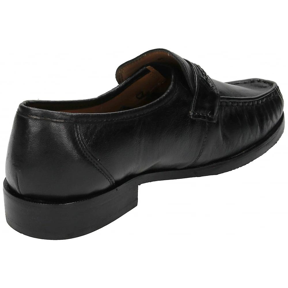 Urban Mens Black Real Leather Slip On Moccasin Formal Wedding Shoes