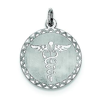 925 sterling sølv solid poleret grave Bart gnistre-cut caduceus Disc Charm-1,4 gram