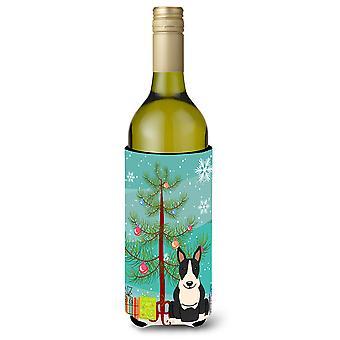 Merry Christmas Tree Bullterrieri musta valkoinen viinipullo Beverge eriste Hugg