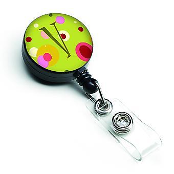 Letter V Monogram - Lime Green Retractable Badge Reel