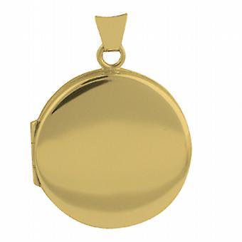 18ct Gold 23mm round flat plain Locket