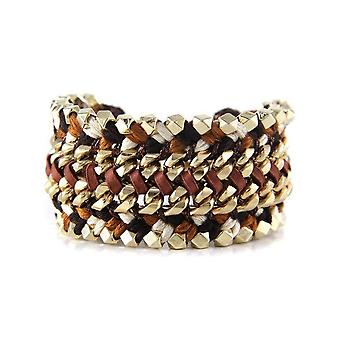 Ettika - Yellow Gold Bracelet and Black, White and Brown Braided Leather Ribbons 3717