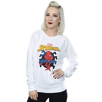 Marvel Women's Spider-Man Web Shooting Emblem Logo Sweatshirt