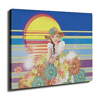 Girl Travel Space Fashion Wall Art Canvas 40cm x 30cm | Wellcoda