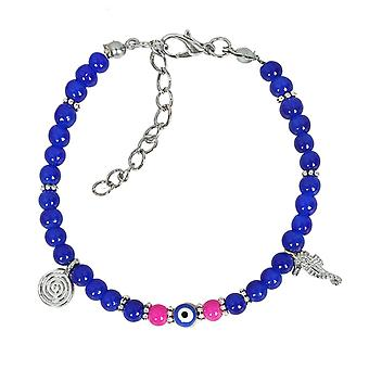 Evil Eye Protection Amulet Royal Blue Pink Accents Sea Horse Magical Symbols Lucky Charms Bracelet