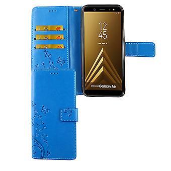 Samsung Galaxy A6 2018 Handy Hülle Schutz-Tasche Cover Flip-Case Kartenfach Blau