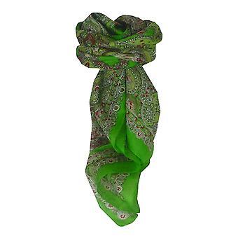 Pañuelo cuadrado de seda tradicionales de Mora Madras verde por Pashmina y seda