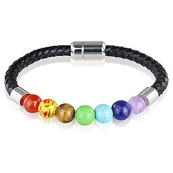 Skipper in pelle bracciale braccialetto con perline 21,5 cm nero/variopinto 7727