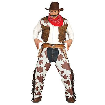 Mens Brown & witte Cowboy Fancy Dress kostuum
