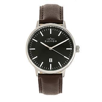 Elevon Vin Leather-Band Watch w/Date - Silver/Brown