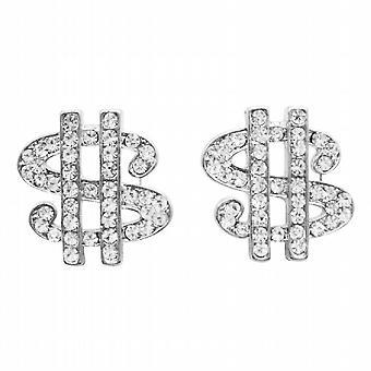 Hip-Hop schimmernden Dollar Ohrringe In simulierten Silber w / CZ Ohrringe