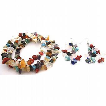 Mixed Gemstone Nugget Wrap Bracelet w/ Nickle Free Earrings Set
