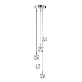 Ice Cube cromo e vetro LED Lampadario cinque - Searchlight 6775-5-LED