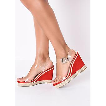 Perspex Platform Espadrille Wedge Sandals Suede Red