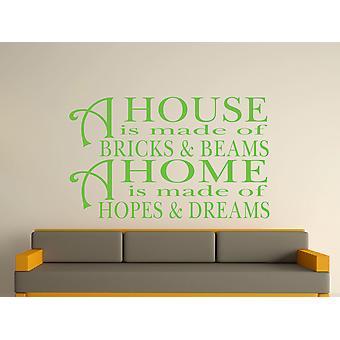 Une maison est faite de briques et de poutres v2 Wall Art autocollants - Vert pomme