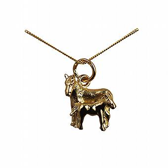 9ct Gold 13x13mm Horse and Foal Pendant with a curb Chain 20 inches