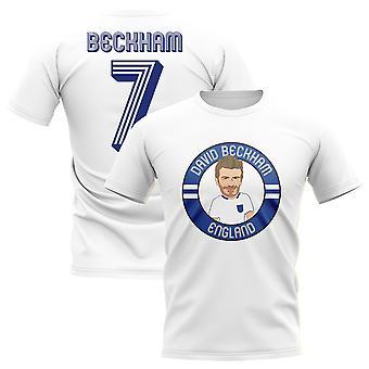 David Beckham England Illustration T-Shirt (White)