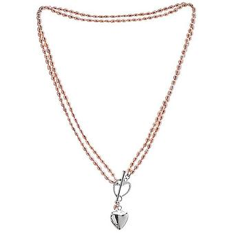 Pearls of the Orient Double Strand Freshwater Pearl Heart Charm Necklace - Pink/Silver