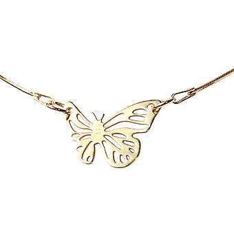 Ah! Jewellery 24K Gold Vermeil Over Sterling Silver Open Work Butterfly Neclace