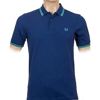 프레드 페리 남자's 트윈 팁 슬림 핏 반소매 폴로 셔츠 M3600-436
