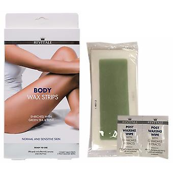 Revitale Body Leg Wax Hair Removal Strips - 100% Ecological Green Tea & Mint