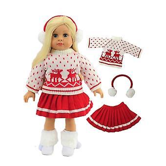 "18"" muñeca ropa Reno rojo falda conjunto"