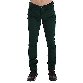 Green corduroy slim fit pants jeans