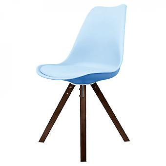 Fusion Living Eiffel Inspiré Blue Plastic Dining Chair with Square Pyramid Dark Wood Legs