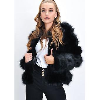 Chaqueta de piel falsa Panel cultivo chaqueta abrigo negro