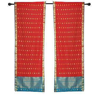 2 Spicy Red Bohemian Sari gardiner Stanglomme stue vindues behandling
