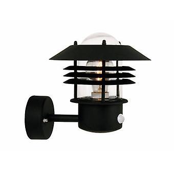 1 Light Outdoor Wall Light Black With Sensor Ip54