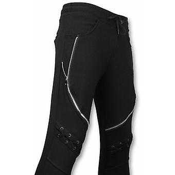 Casual Sweatpants-Biker Braided-Black