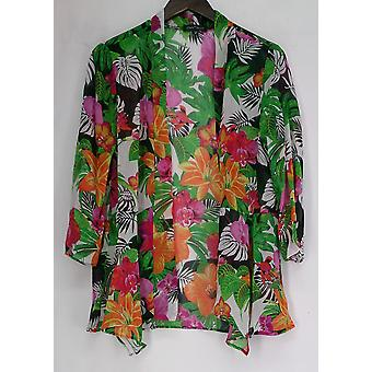 Slinky Brand Floral Print Green / Orange / White Wrap Jacket Womens