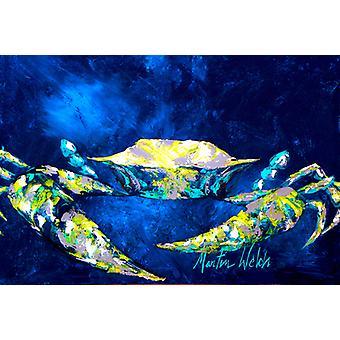 Carolines Treasures  MW1101PLMT Crab Blue Fabric Placemat