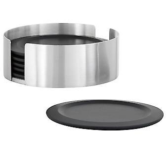 Sottobicchiere set in acciaio inox opaco, 6 sottobicchieri in silicone