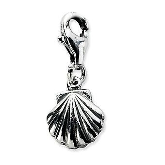 925 Sterling Silver finish Fancy Lobster Closure Clam Shell With Lobster Clasp Charm Pendant Necklace Measures 20x9mm Je